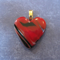 Red Glass Heart Pendant, Valentines Day, Love Pendant Heart, Necklace Slide, Heart Jewelry, Red Jewelry - Sugarplum - 4084 -3