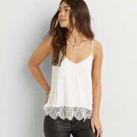 AEO LACE BOTTOM STRAPPY TANK