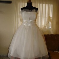 50s Style PLUS SIZE Tulle Dress Satin Sash with by atelierTAMI