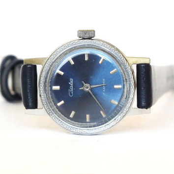 Vintage women's watch SLAVA (GLORY) ladies wrist watch blue round dial, silver tone decorated case