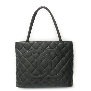Auth CHANEL Medallion Tote Bag Quilted Caviar Leather Black Used Vintage Women