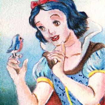 "aceo original watercolor painting "" snow white "" minaiture nadia"