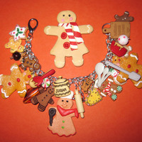 Christmas Jewelry Charm Bracelet Baking Gingerbread Man Cookies Sweet Treats OOAK Eclectic Original Chunky Loaded Beads Charms & Trinkets