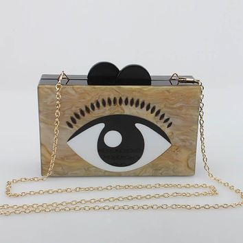 Yens Women Mini Messenger Bag Novel Acrylic Handbag Evil Eyes Clutch Evening Bag Cute Coffee Color Wallet Patchwork Acrylic Box