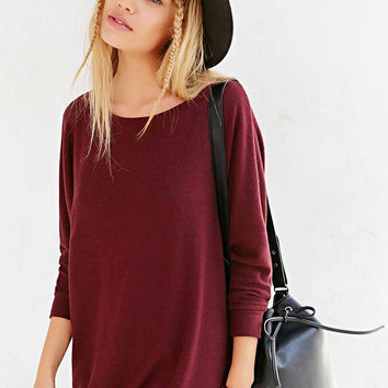 Burgundy Batwing Sleeve Wrap Dress