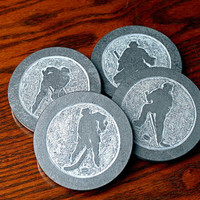 Round stone coasters Black Slate hand carved hockey figures unique design home decor