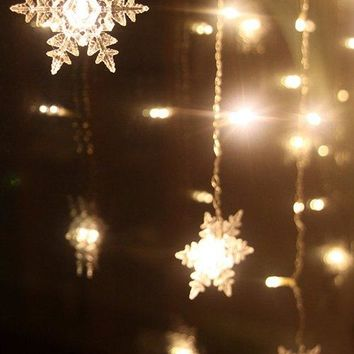 Christmas Snowflake Hanging LED String Light Festival Indoor Decor