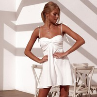 Newly Summer BOHO Women Solid Color Spaghetti Strap Backless Ladies Sexy Chic Beach Midi Dress Holiday Strappy Sun Mini Dresses