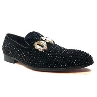 Fiesso Crystal Lips Black Loafers FI7161