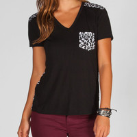 Hurley Slouchy Womens Pocket Tee Black  In Sizes