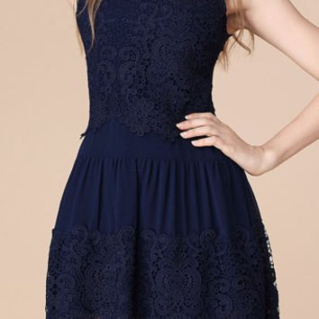 Dark Blue Sleeveless Lace Mini Dress