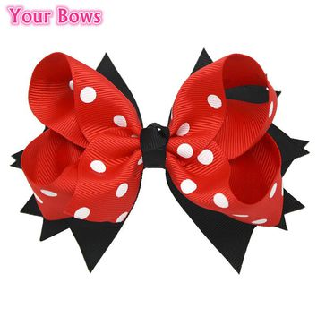 Your Bows 1PC 5Inches Back To School Hair Bows Kids Hairpin Boutique Ribbon Bows Hair Clips For Girls Hair Accessories