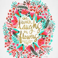 The Earth Laughs in Flowers – Pink & Gold Art Print by Cat Coquillette