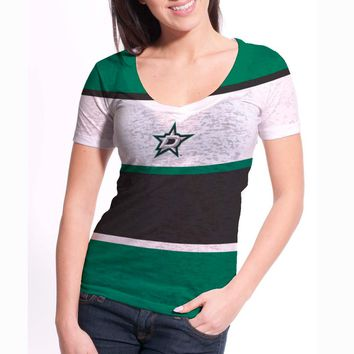 Dallas Stars Women's Four Stripe FX Burnout T-Shirt