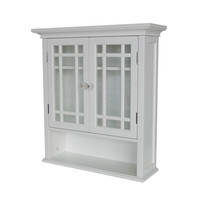 White Bathroom Wall Cabinet Cupboard with Cubby & Shelves