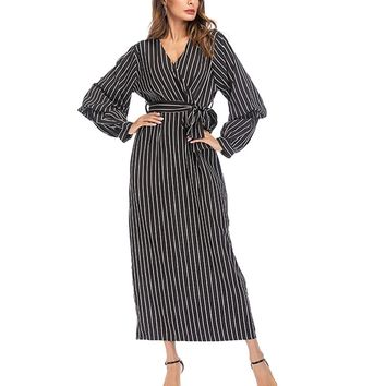 Women Casual Striped V-Neck Long Sleeve Loose Dress with Waistband Middle Eastern Muslim Maxi Dress