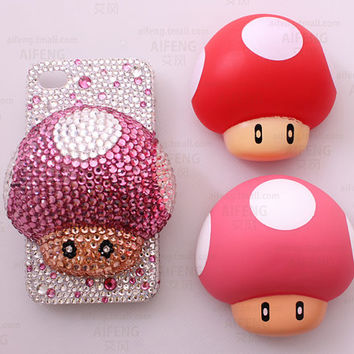 Mushroom Crystal Phone Case case deco kit for all Phone Case (including the plastic Mushroom and more than 3000pcs rhinestones)