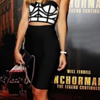 Black White Geometric Color Block Strapless Bustier Crop Top Pencil Midi Skirt Two Piece Bodycon Dress