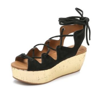 See by Chloe Lace Up Suede Platform Wedges