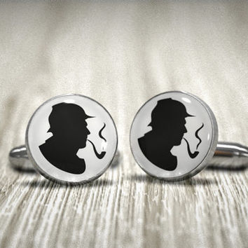 Sherlock Holmes Cufflinks -Groom, Groomsman, Best Man or TEAM Groom Cuff Links