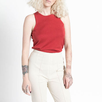 Vintage 90s Auburn Red Silk and Cotton Knit Basic Tank Top | M