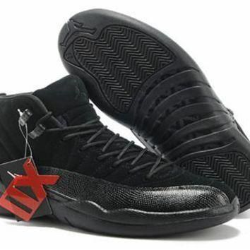 Cheap Air Jordan 12(XII) Suede Men Shoes Pure Black