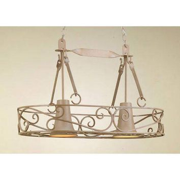 Hi-Lite H-92Y-D-110-W-SDL Authentic Iron Natural Sand Lighted Pot Rack with Solid Down Light