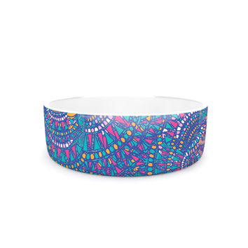 "Miranda Mol ""Kaleidoscopic Blue"" Blue Geometric Pet Bowl"