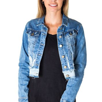 Cropped and Distressed Jean Jacket