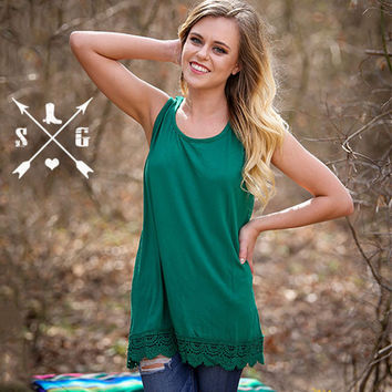 Solid Tank With Lace Trim in Forest Green