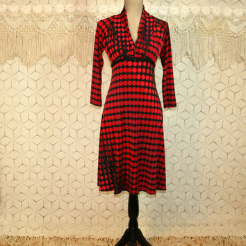 Knit Dress High Waist Empire Waist Midi Black Red Print Geometric Flared Fitted Dress Drape Neck Donna Morgan Small Womens Clothing