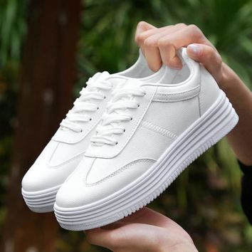 Women  Platform Sneakers  Leather Flat White High top Shoes Sport Shoes