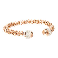 Rose Gold & Crystal Popcorn Chain Cuff | zulily
