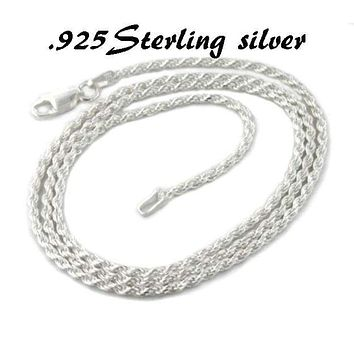 Mens Womens 925 Sterling Silver Italy Stamp 18in Rope Chain Necklace Rope Chain