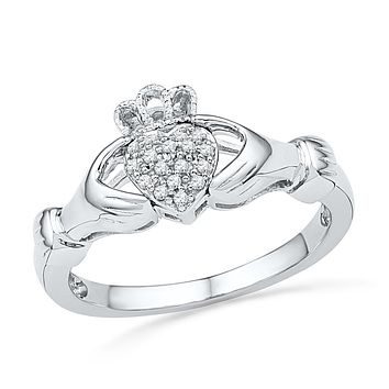 10kt White Gold Womens Round Diamond Claddagh Hands Heart Cluster Ring 1/20 Cttw