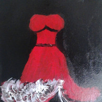 """Orginal Abstract Art Oil Painting Handmade on Wrapped Canvas w/Wood Framing 12x16"""" Red dress"""