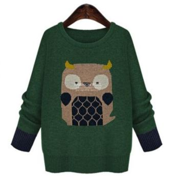 Owl Print Loose Large Size Sweater