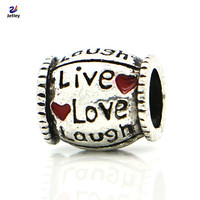 Silver Live Love Laugh. European Heart Beads Fits Charm Pandora Bracelets Necklaces Pendants
