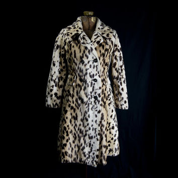 Vintage 1960s Faux Leopard Fur Coat by Safari Mod Princess Style Winter Warm