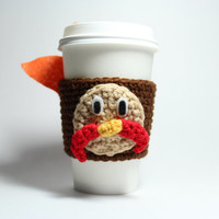 Turkey coffee cozy - Thanksgiving cup sleeve - crochet can cozy- tom turkey drink sleeve