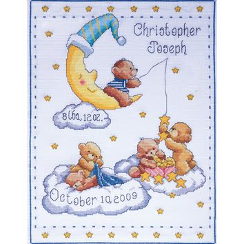 "Bears In Clouds Birth Record Counted Cross Stitch Kit 11""X14"" 14 Count"