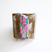 Raw Crystal Quartz Ring - Rock Crystal - Rainbow and Crystal Clear Crystal Points- Mineral Jewelry - Adjustable