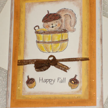 Fall Thanksgiving Card 3D Pop Up Acorn Squirrel Honey Pop