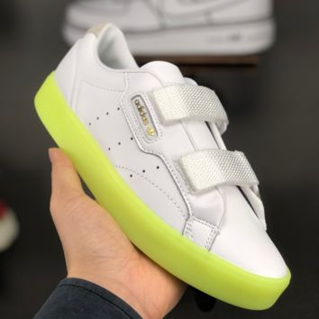 HCXX A1388 Adidas Sleek W Leather Classic Casual Sports Board Shoes White Fluorescent green