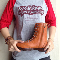 brown leather boots women men handmade Rangkayo shoes Preorder natural brown