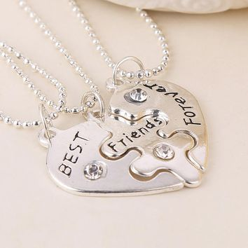 Xmas Gift Collier BFF Statement Necklace 3 pcs Best Friends Forever Silver Necklaces Collar Friendship Heart Charm Pendant Gift