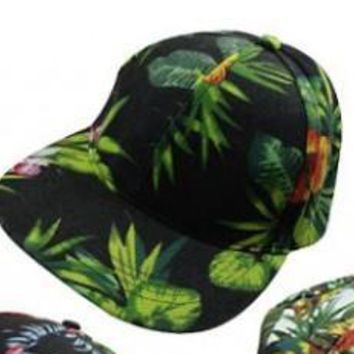 Black Hawaiian Tropical Jungle SnapBack Hat