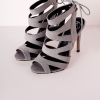 Missguided - Laser Cut Heeled Sandals Grey