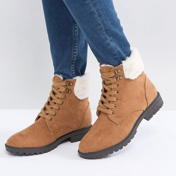 Head Over Heels Piyah Tan Faux Fur Lined Flat Boots at asos.com