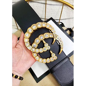 GUCCI hot seller for stylish women with large diamond-studded gold buckle belts